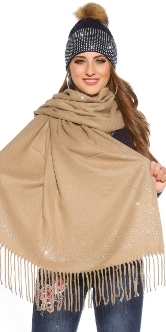 Trendy XL scarf with rhinestones Cappuccino