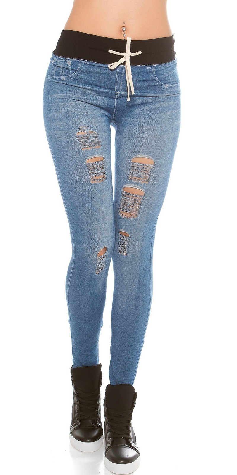 Trendy Jeanslook-Leggins with cracks & pull strap Lightblue