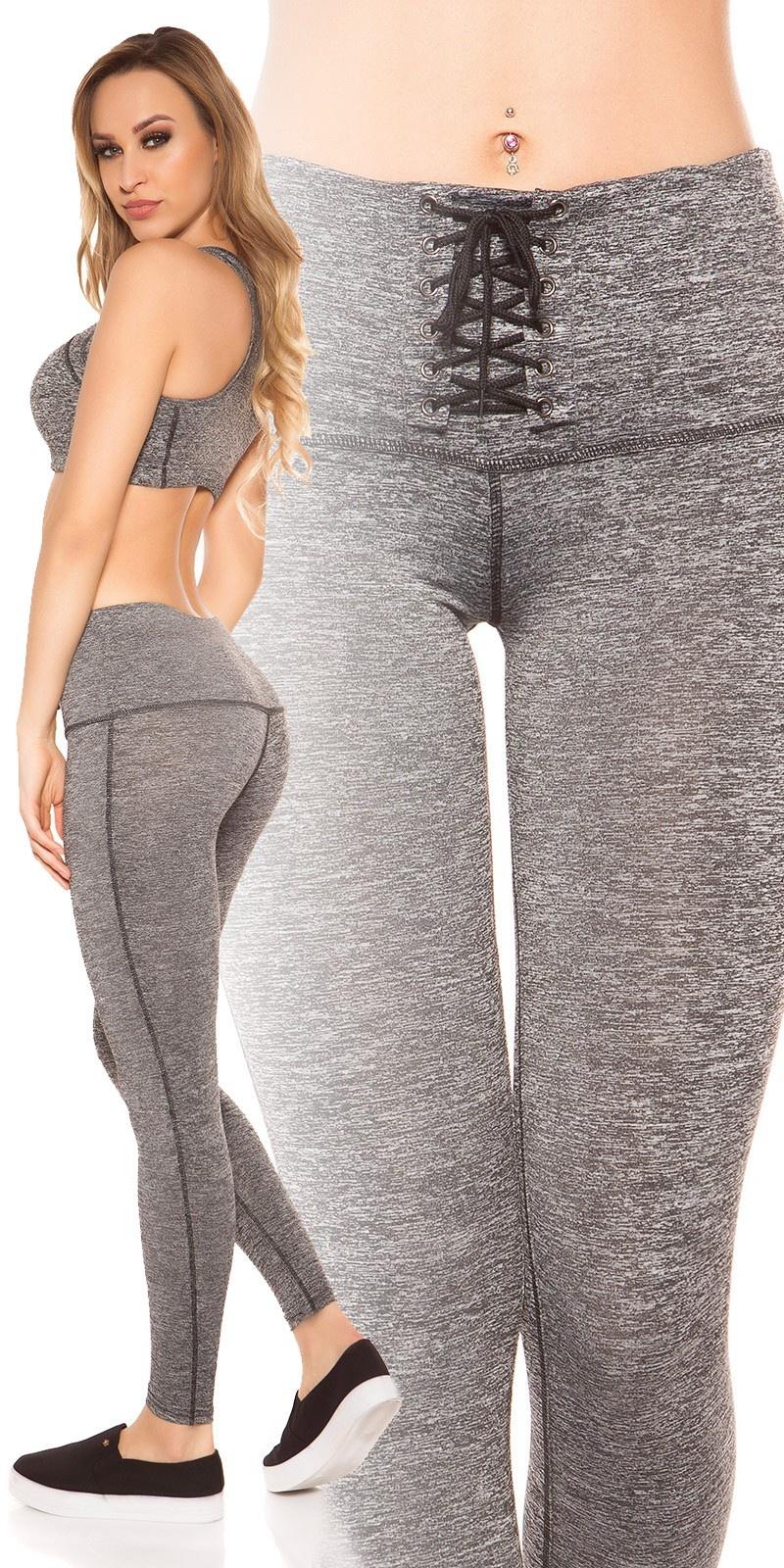 Sexy workout-sport leggins met veter zwartgrijs