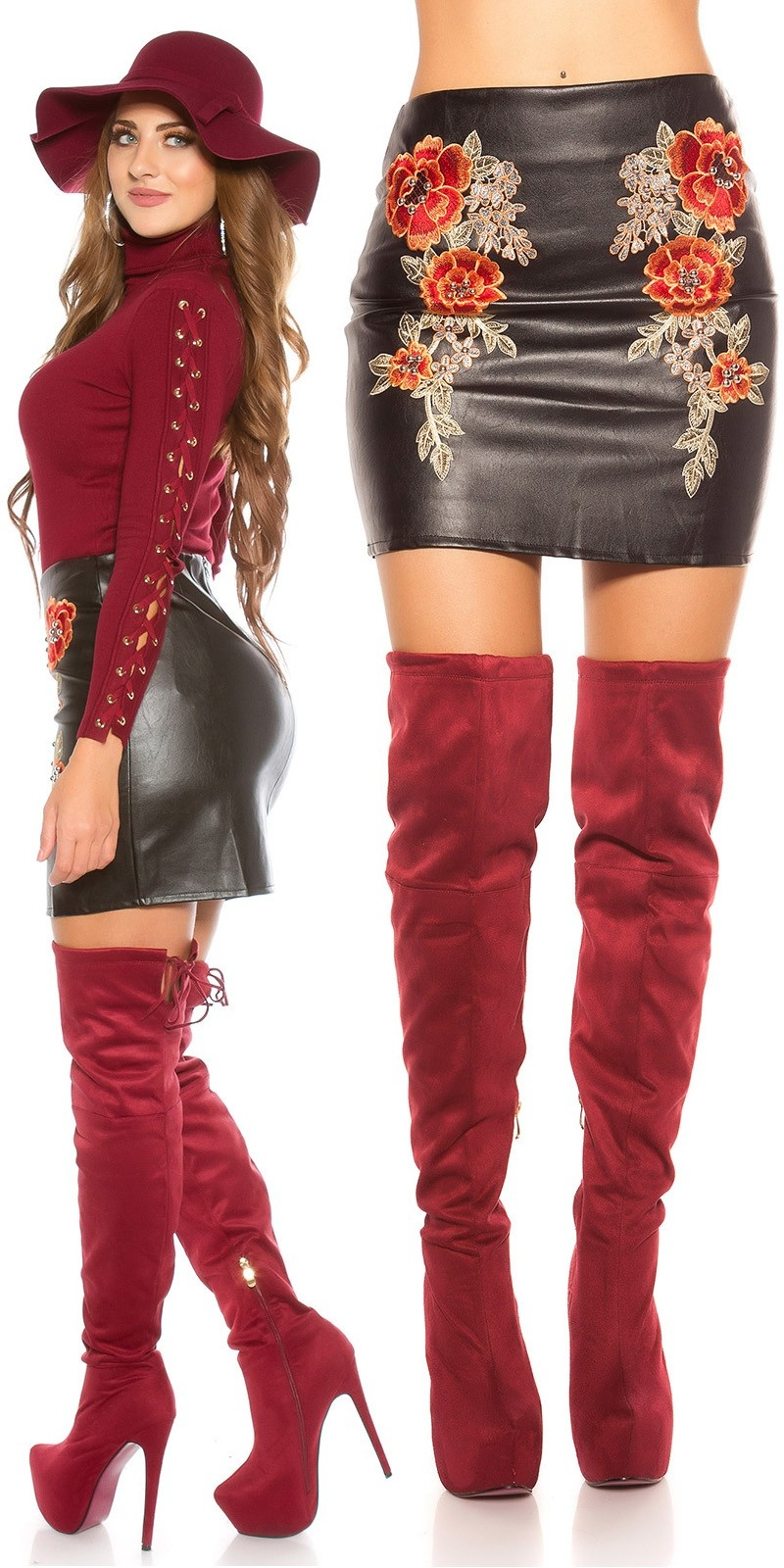 Sexy leather look mini skirt w. embroidery & rivet Black