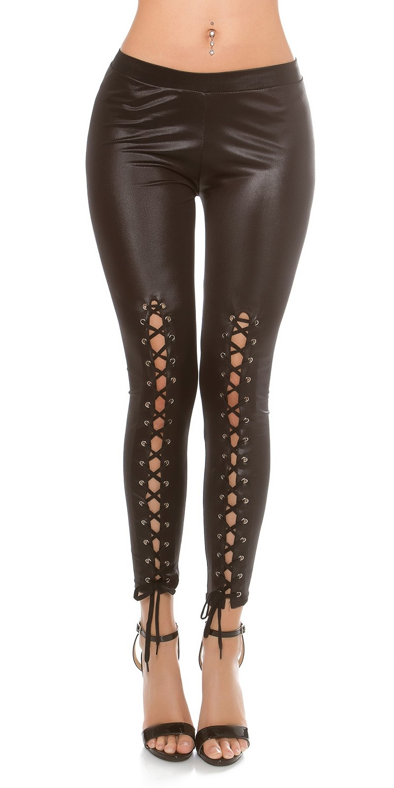 Sexy Wetlook Leggings with lacing Black