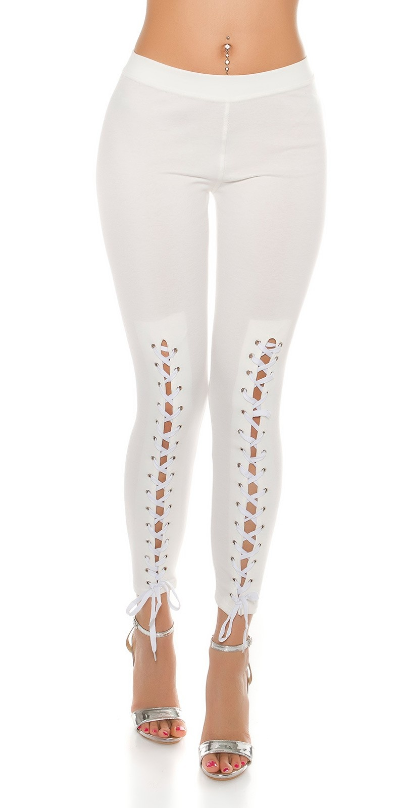Sexy Leggings with lacing White