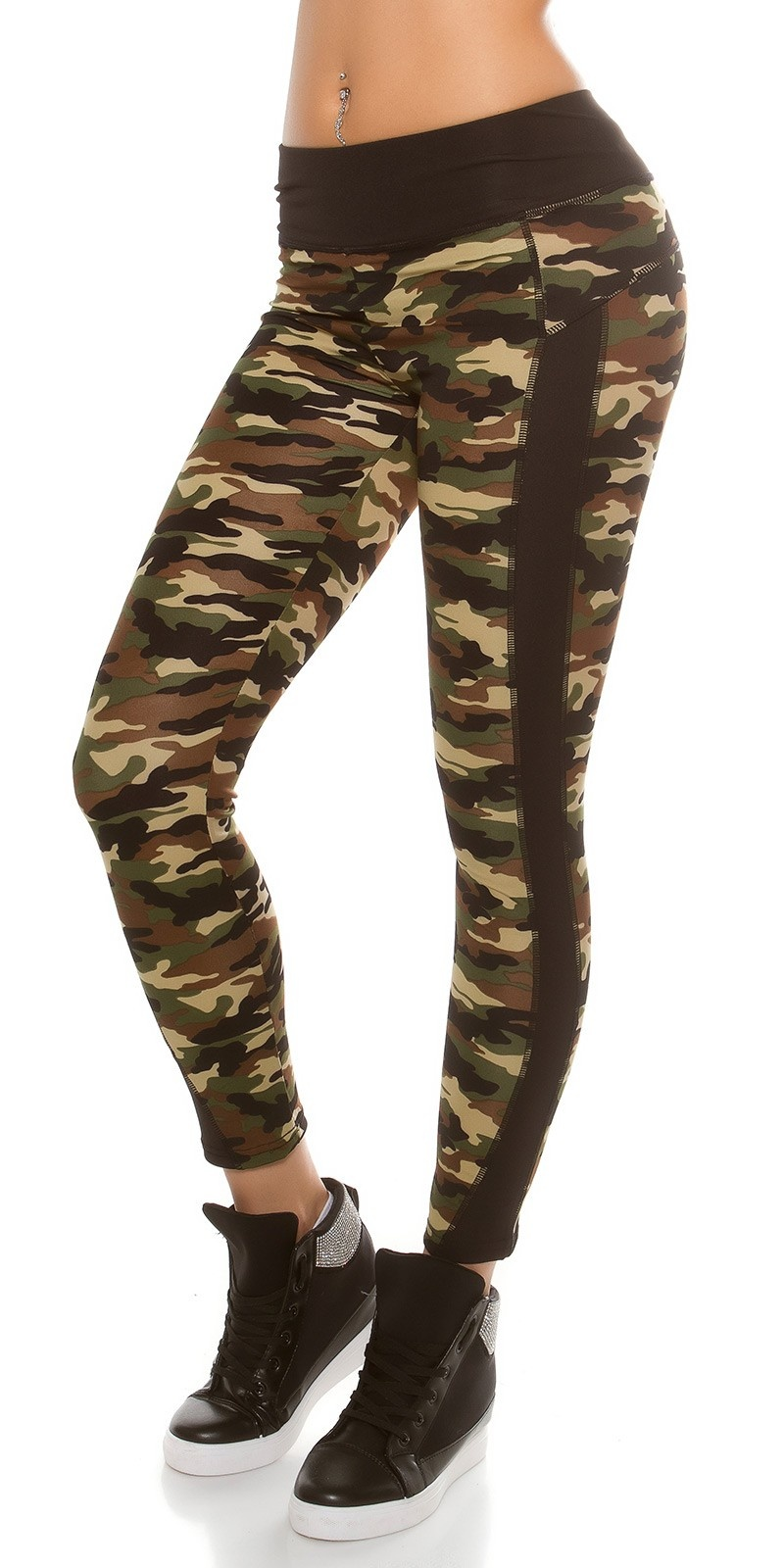 Trendy Workout Leggings Camouflage Print Black