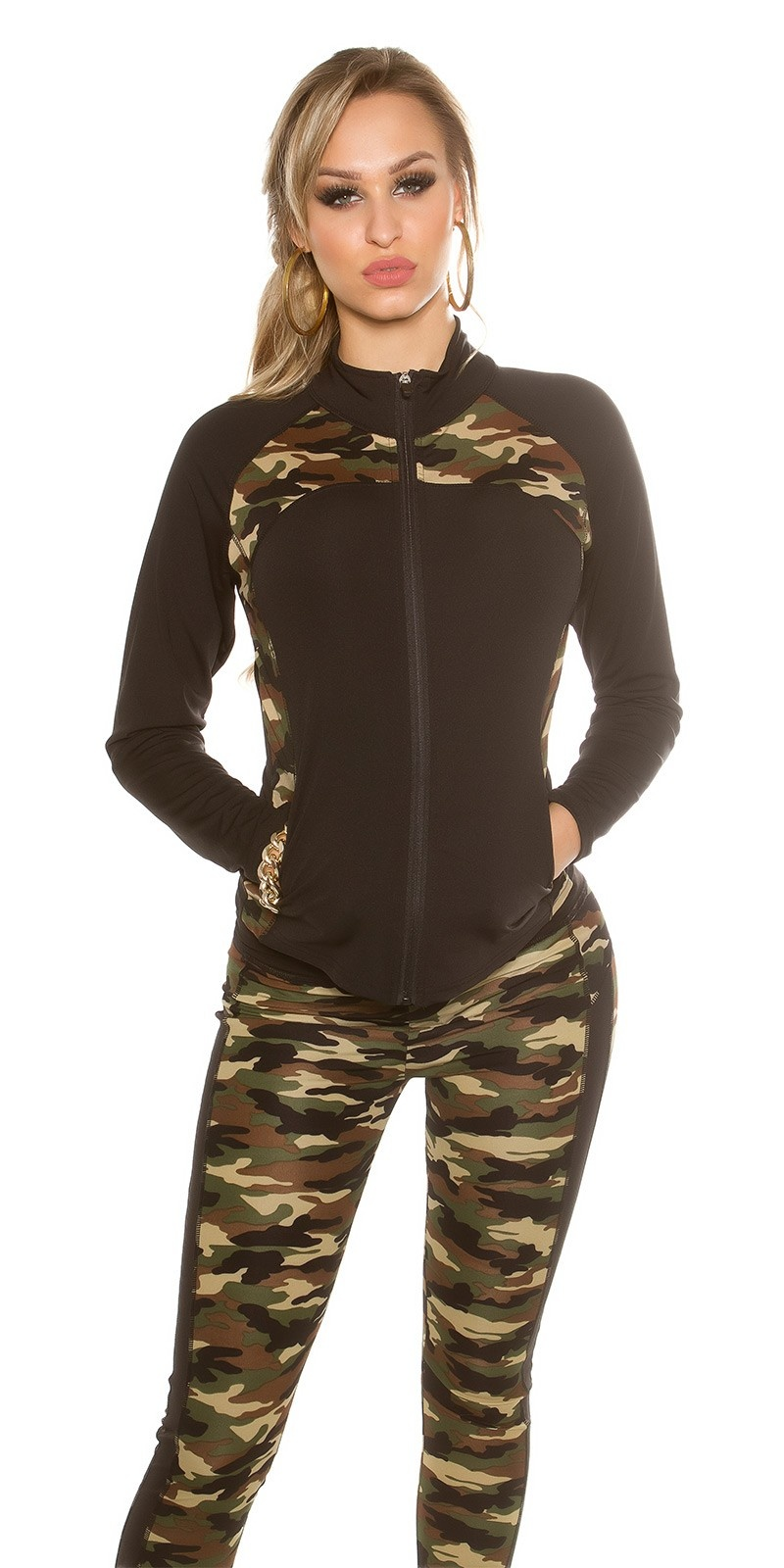 Trendy Workout Jacket with Camouflage Print Black