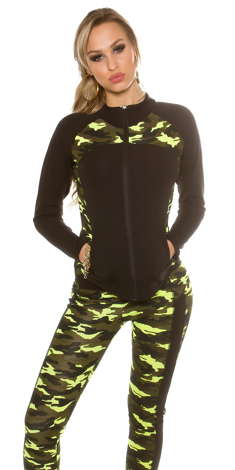 Trendy Workout Jacket with Camouflage Print Yellow