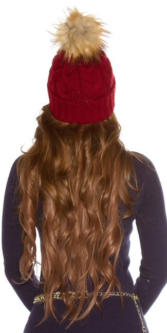 Trendy knitted cap w.removeable fake fur PomPom Bordeaux