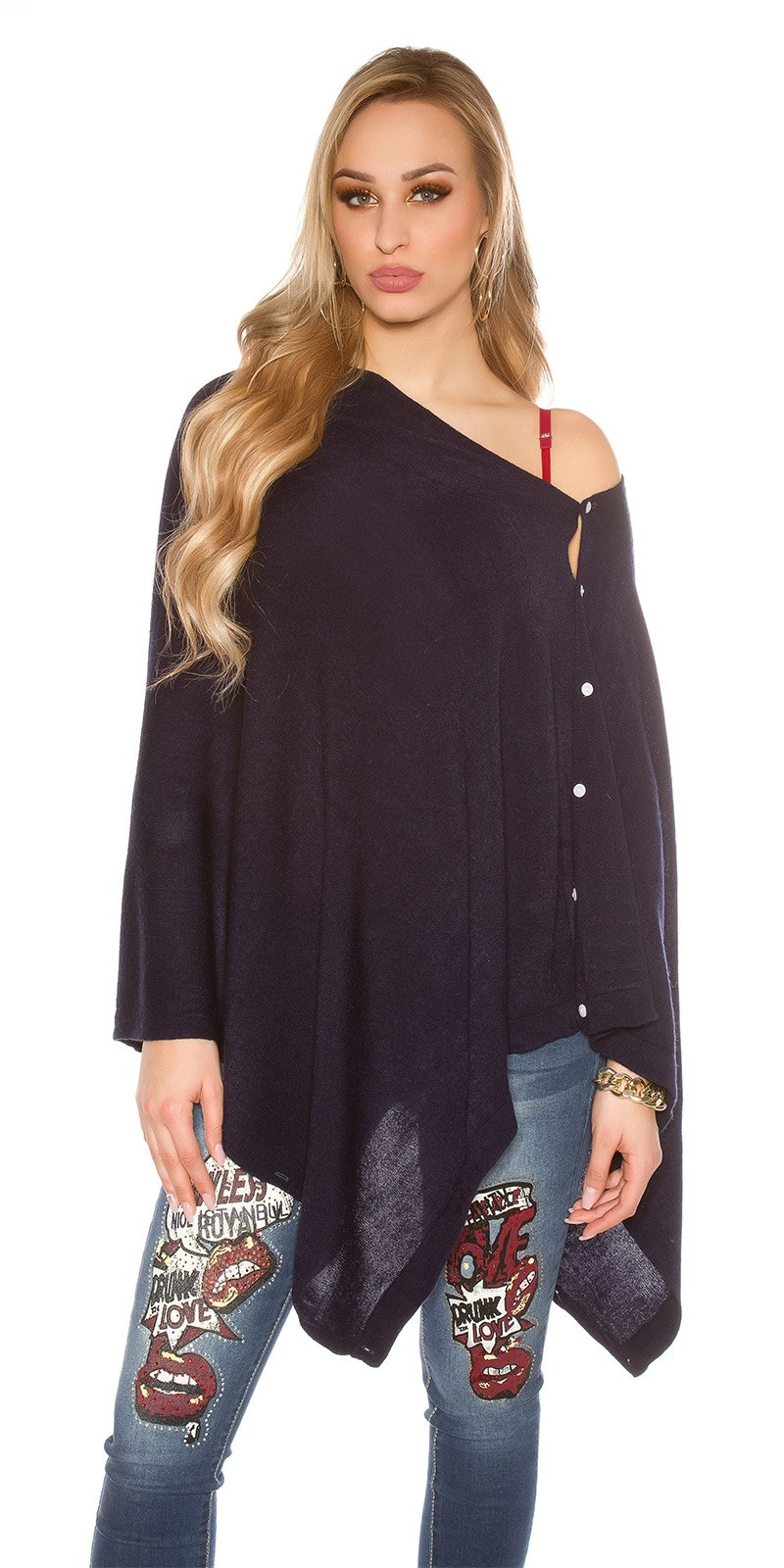 Trendy Scarf - Poncho It s Up2U Navy
