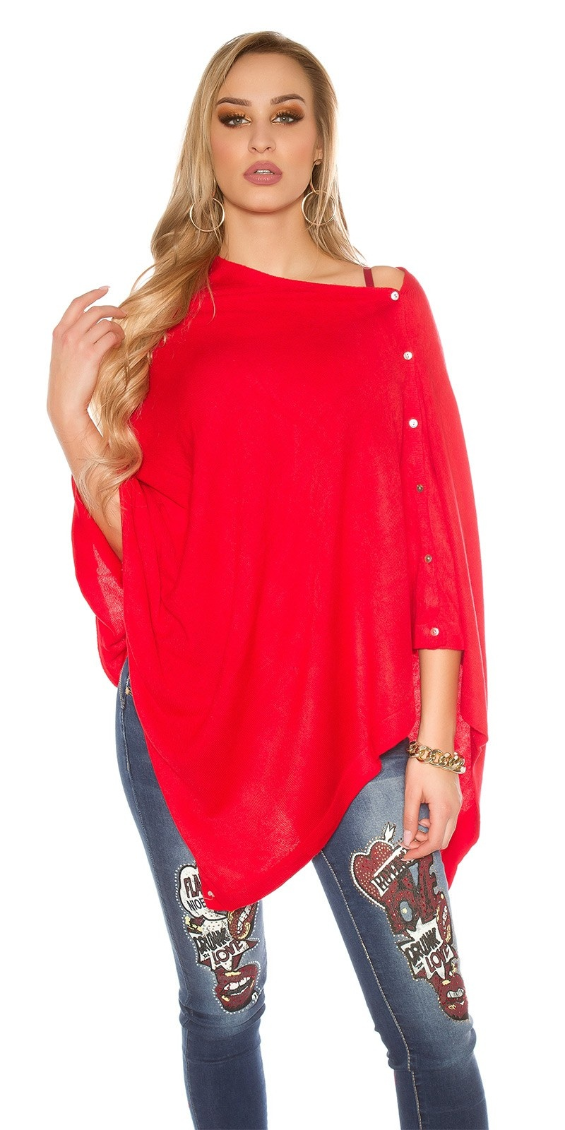 Trendy Scarf - Poncho It s Up2U Red