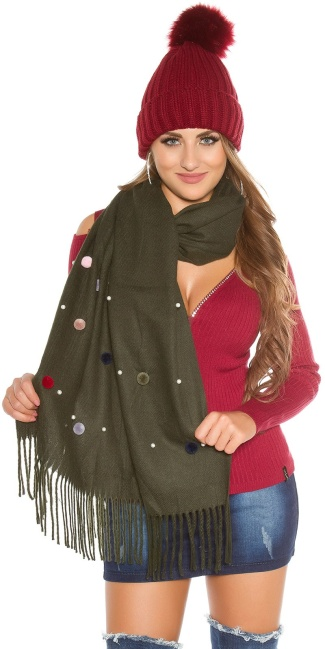 Trendy XL scarf with beads and PomPoms Khaki