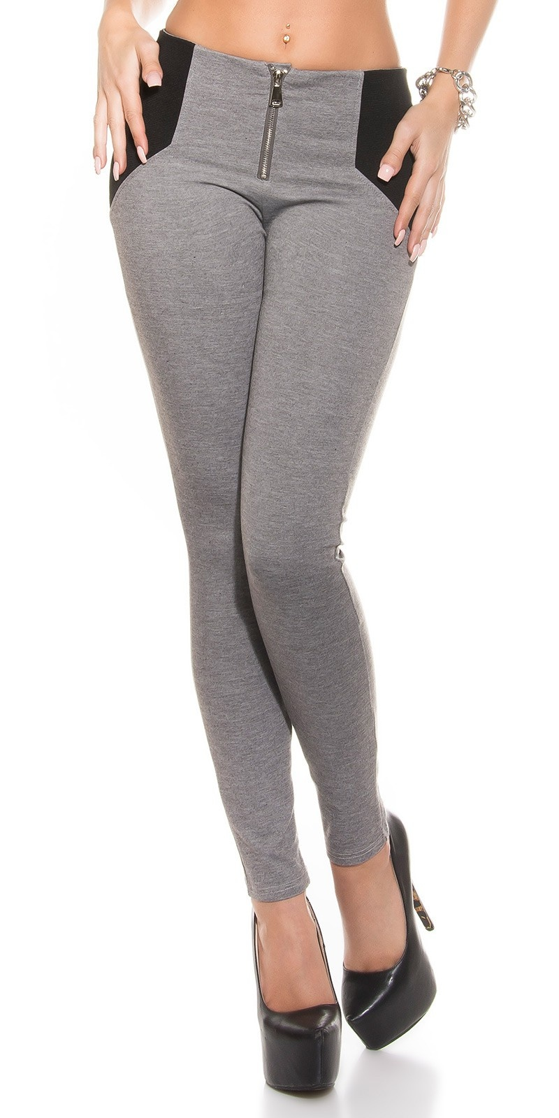 Sexy Highwaist leggings Shape look with Zip Grey