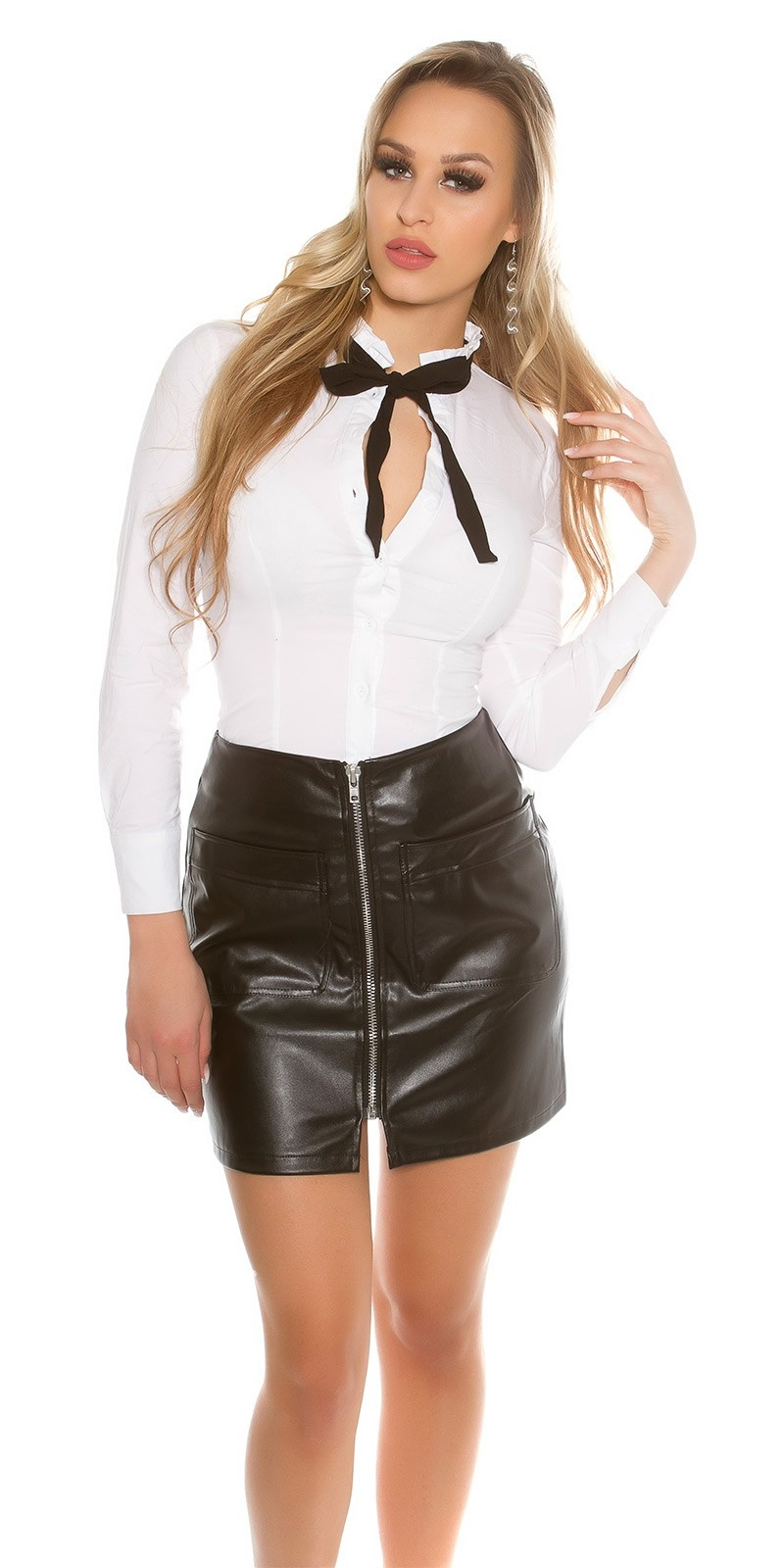 Sexy A-Line Mini Skirt Leatherlook with Zip Black