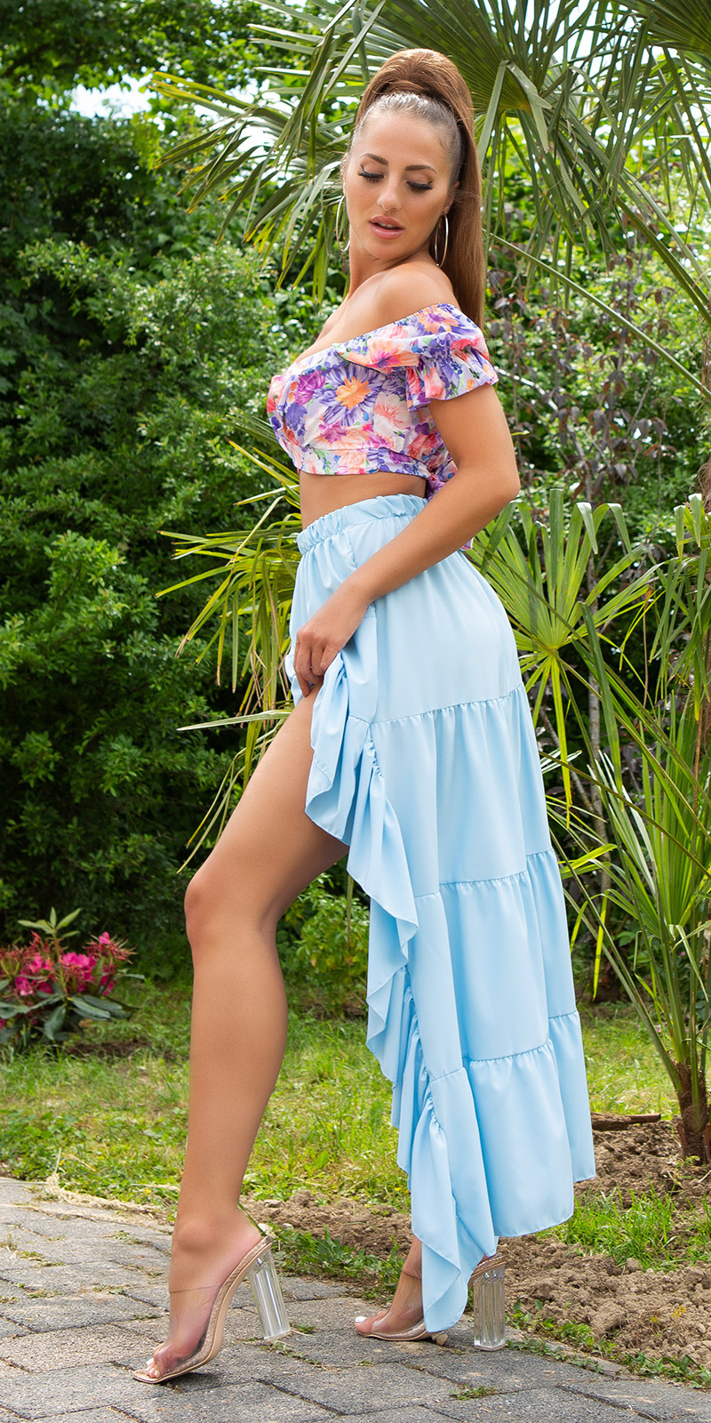Sexy Latina High-Low Skirt Turquoise