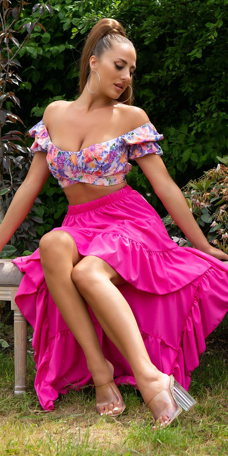 Sexy latina high-low rok roze