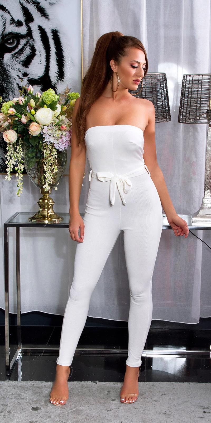 Sexy bandeau geribde jumpsuit wit