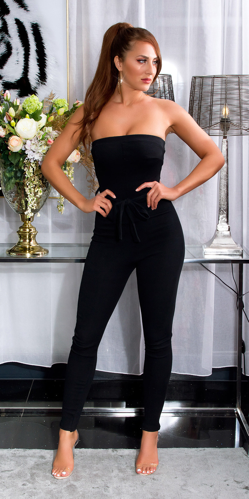 Sexy bandeau geribde jumpsuit zwart
