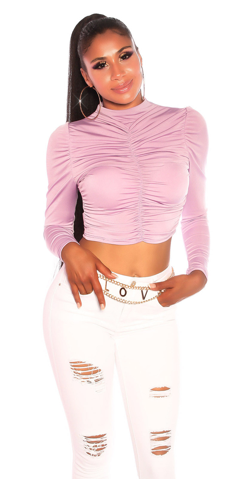 Sexy volant-geplooide langmouw crop top lilac