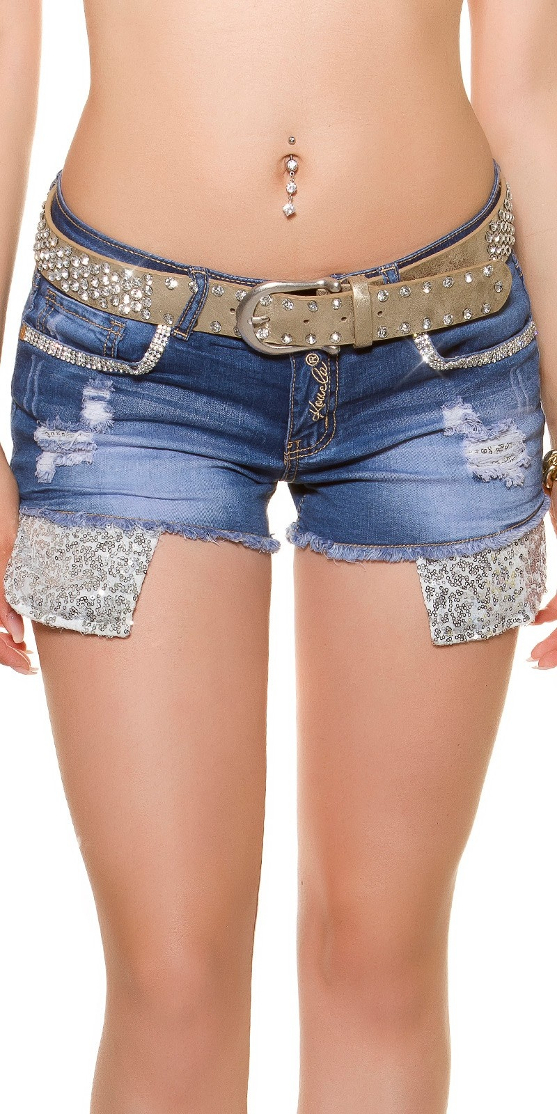 Sexy hip belt with rhinestones Gold