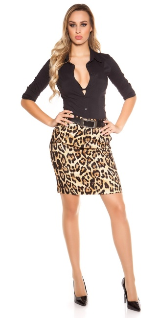Sexy Pencil-Skirt with Belt in Leo-look Leobrown
