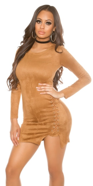 Sexy longsleeve mini dress suede look Bronze