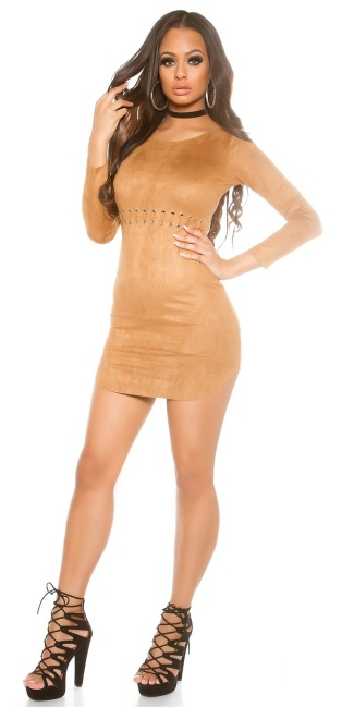 Sexy suede look mini dress Bronze