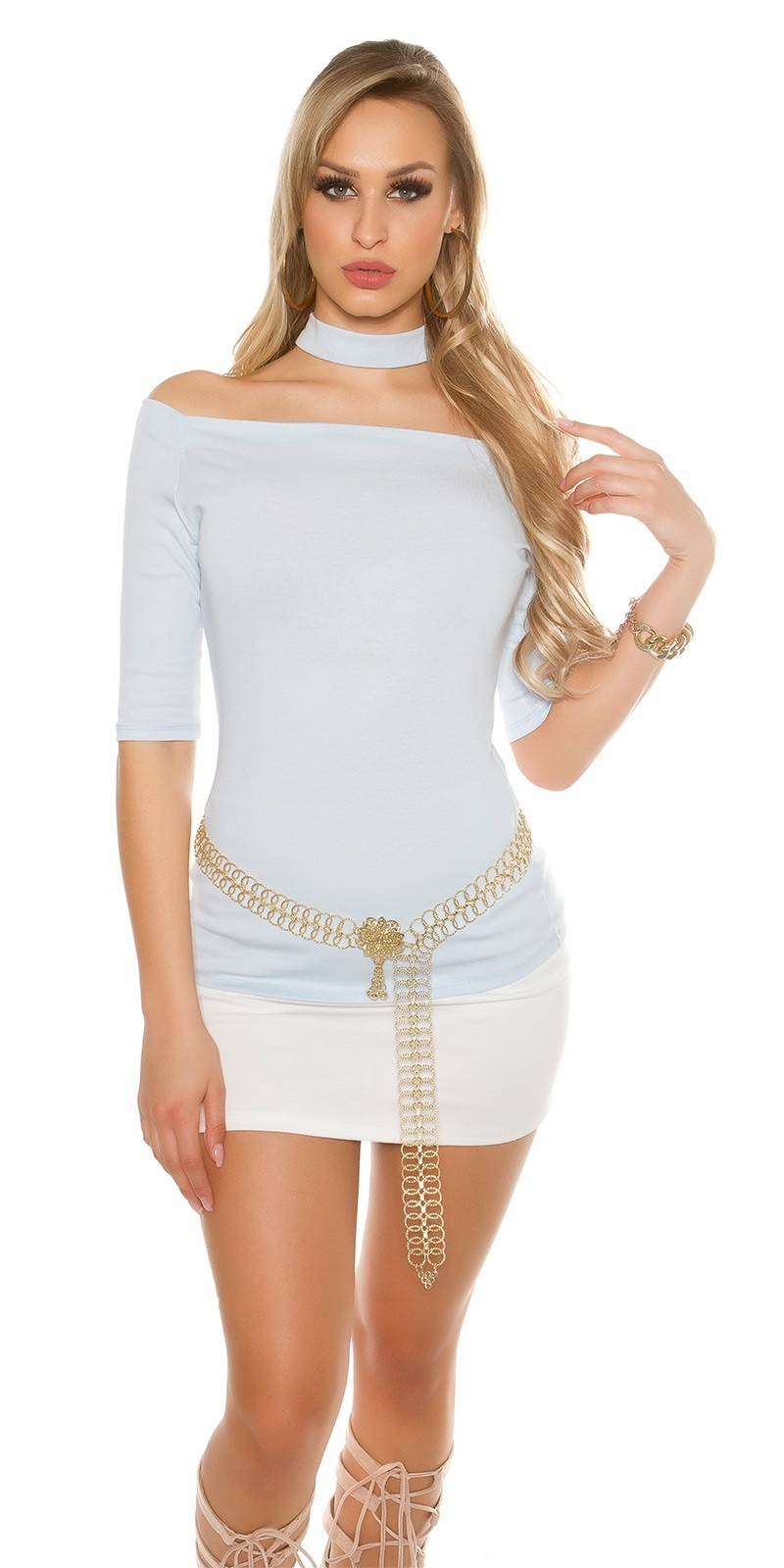 Sexy shirt with embroidered choker Babyblue