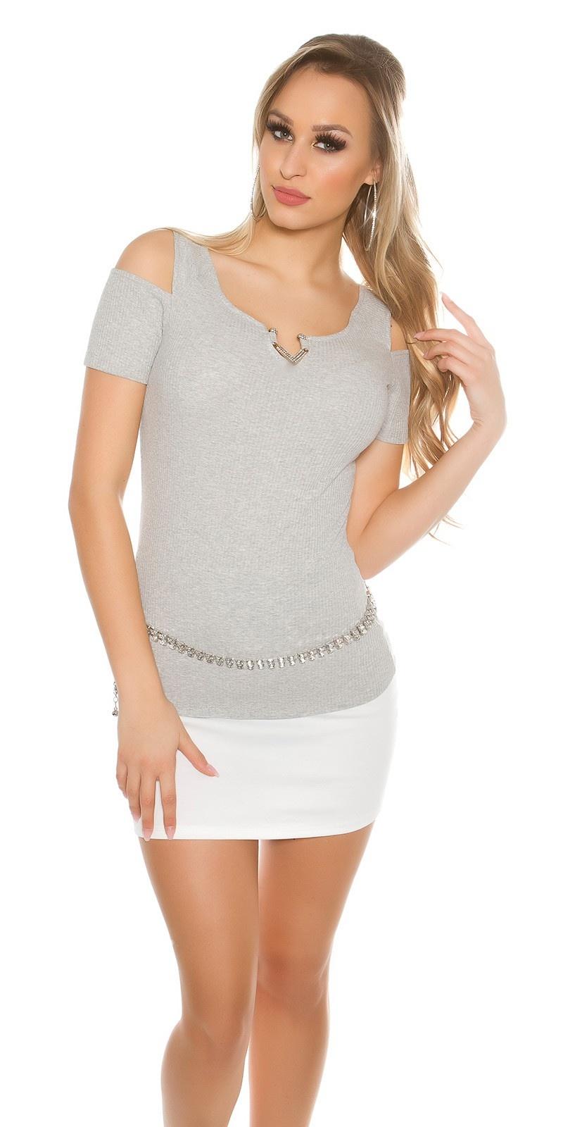 Sexy Coldshoulder shirt with V-Cut rhinestones Grey