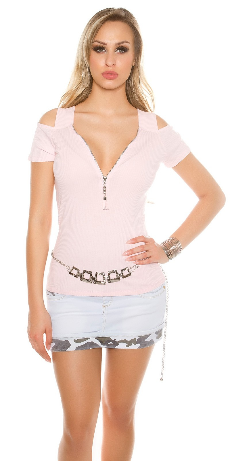 Sexy Basic Ripp Cold Shoulder- Shirt Pink