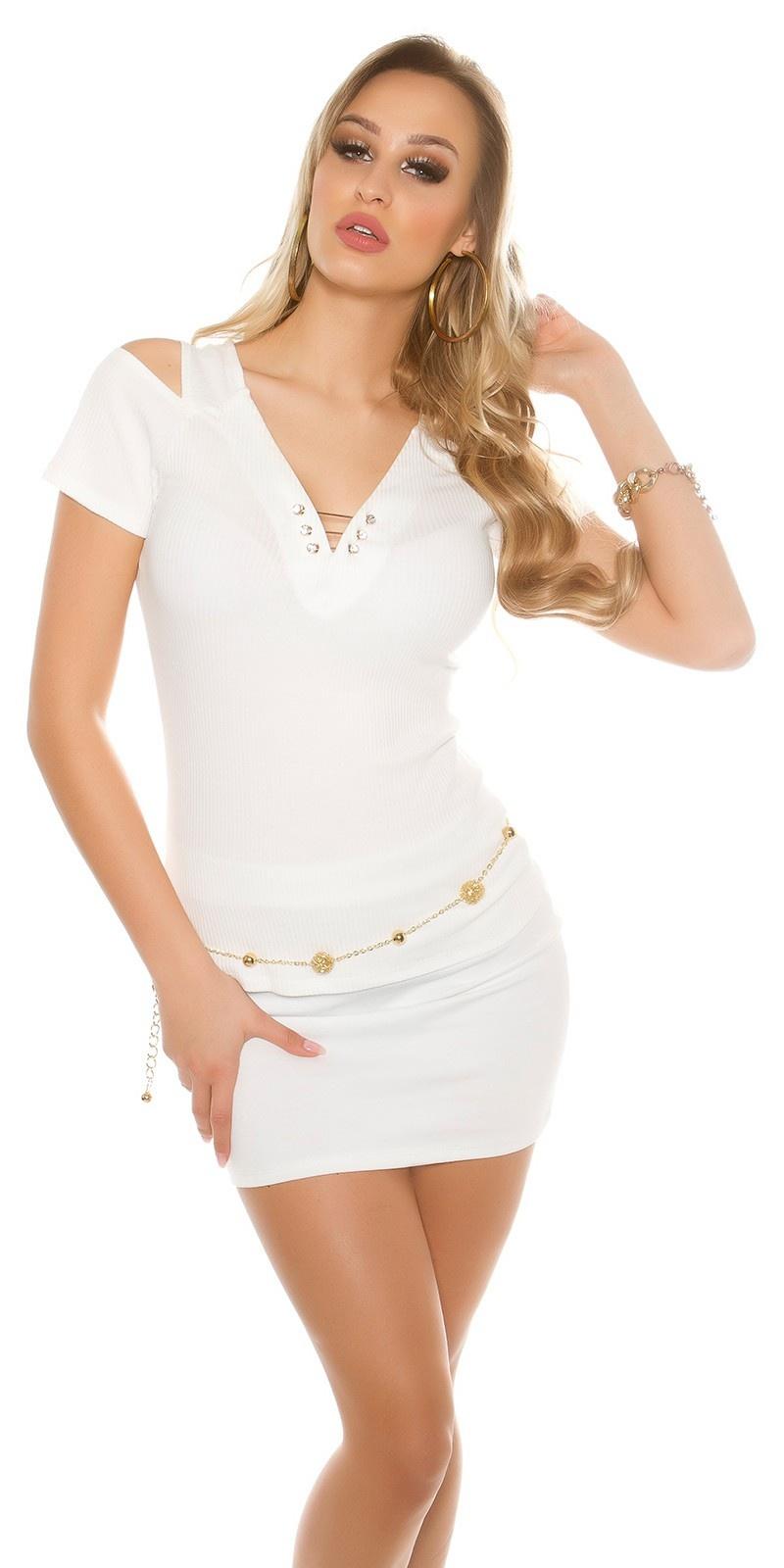 Sexy Coldshoulder Ripp Shirt V-Cut White