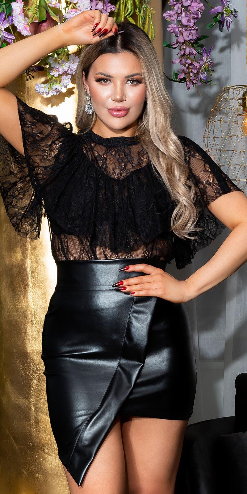 Sexy kanten top met volant zwart