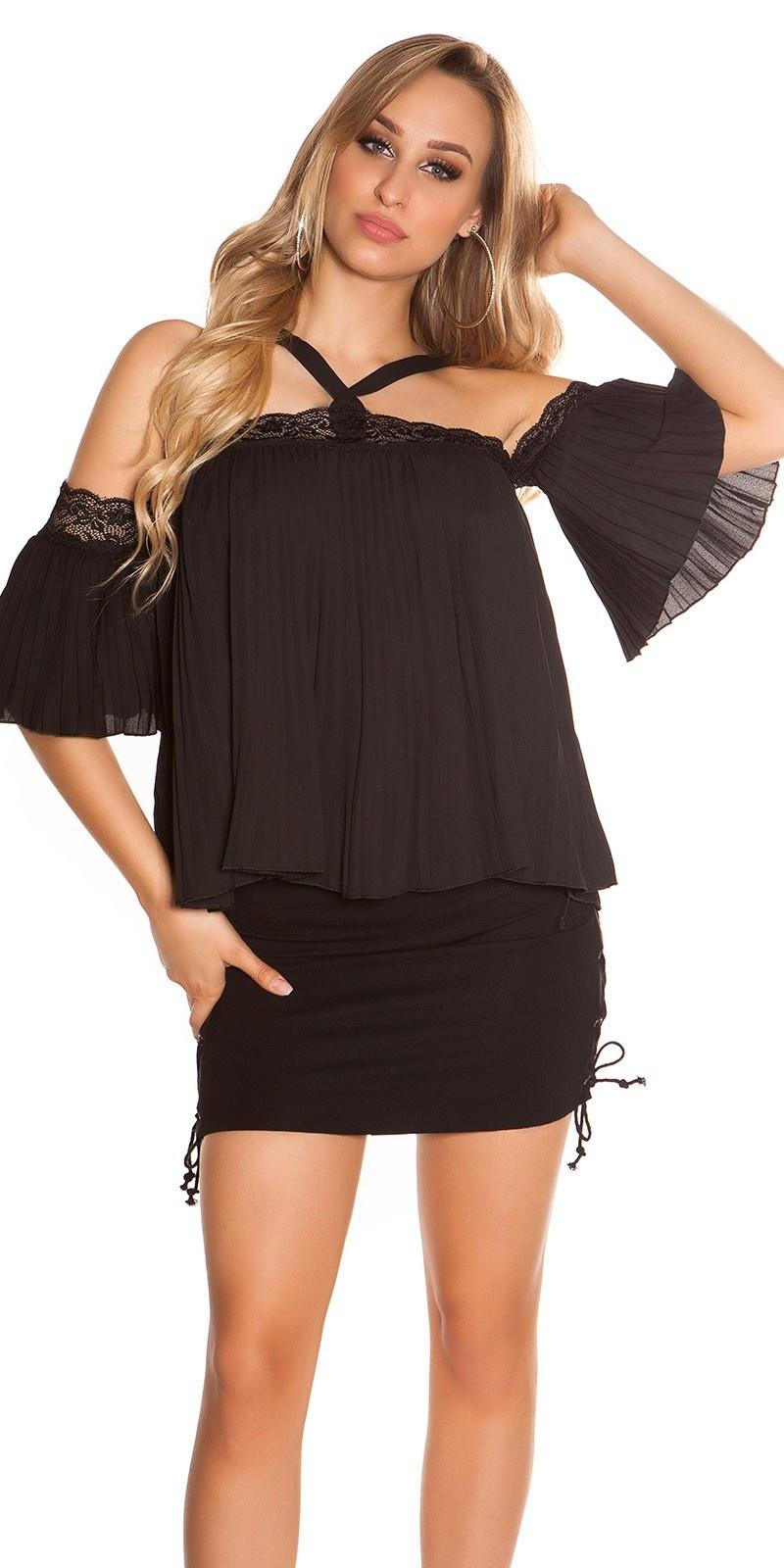 Sexy halter & blote schouder top met kant zwart