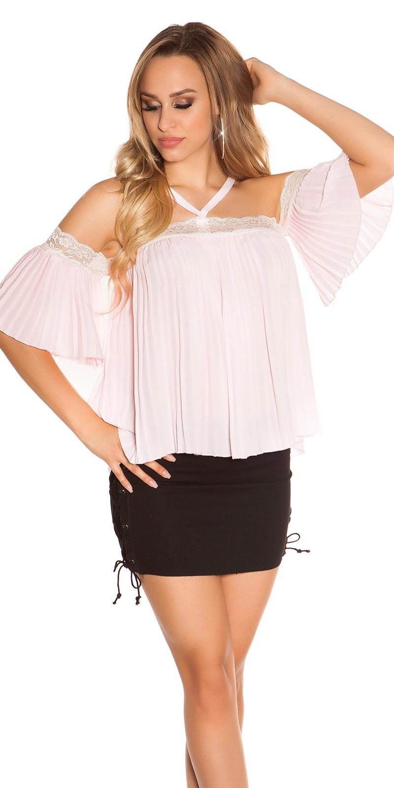 Sexy halter & blote schouder top met kant roze