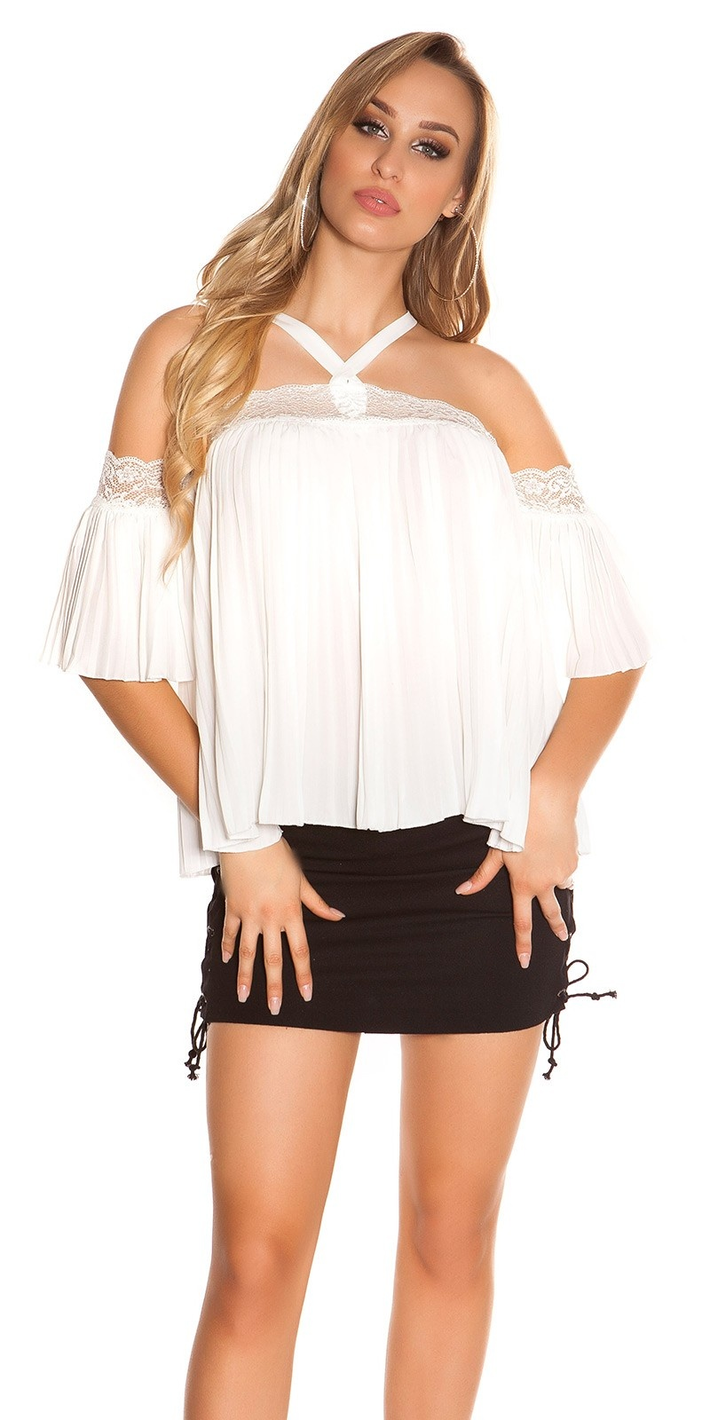 Sexy halter & blote schouder top met kant wit