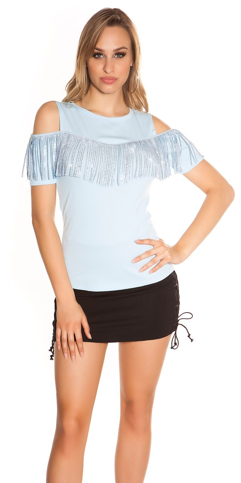 Trendy blote schouder shirt met franjes & studs babyblauw