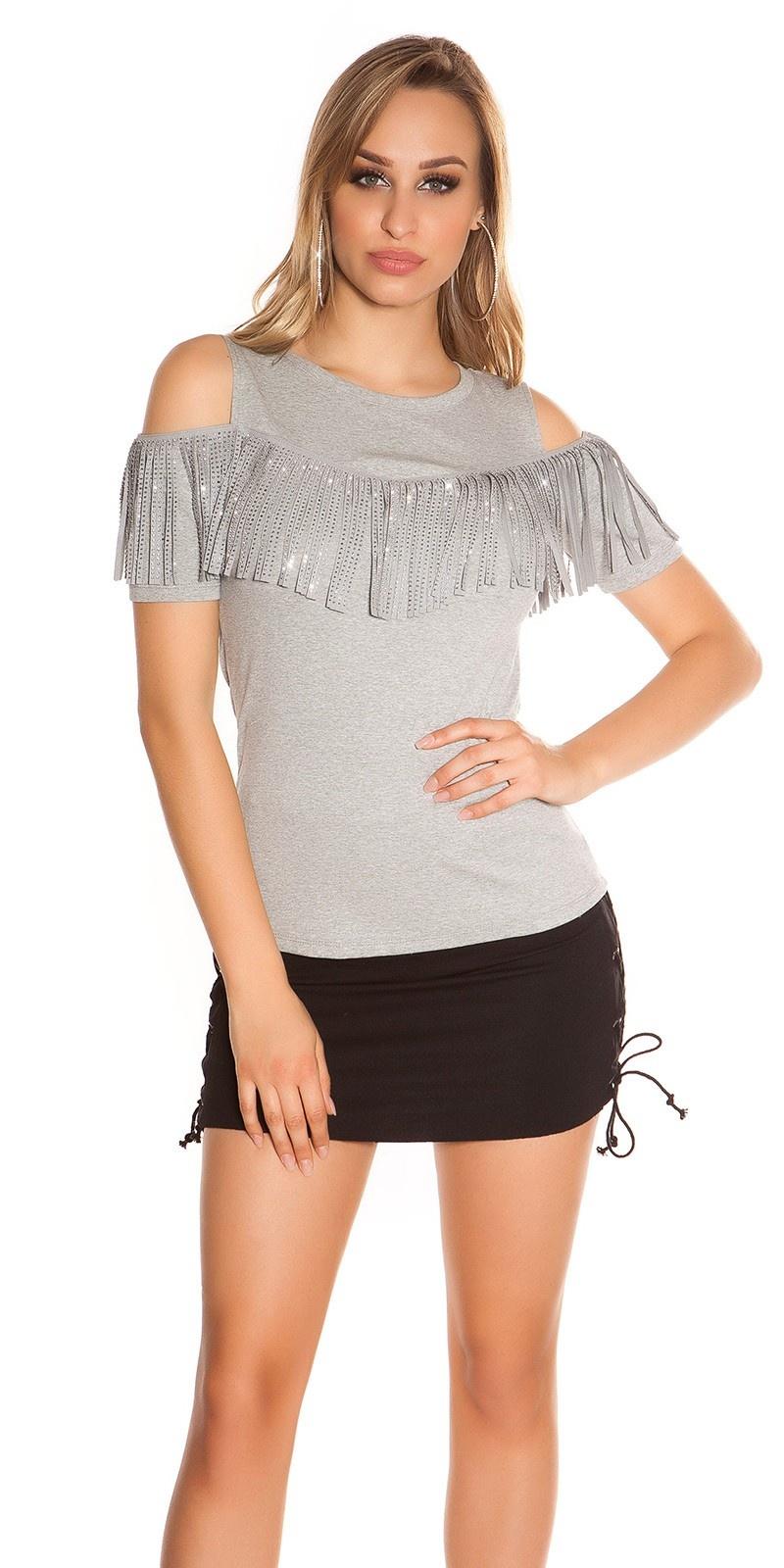 Trendy blote schouder shirt met franjes & studs grijs