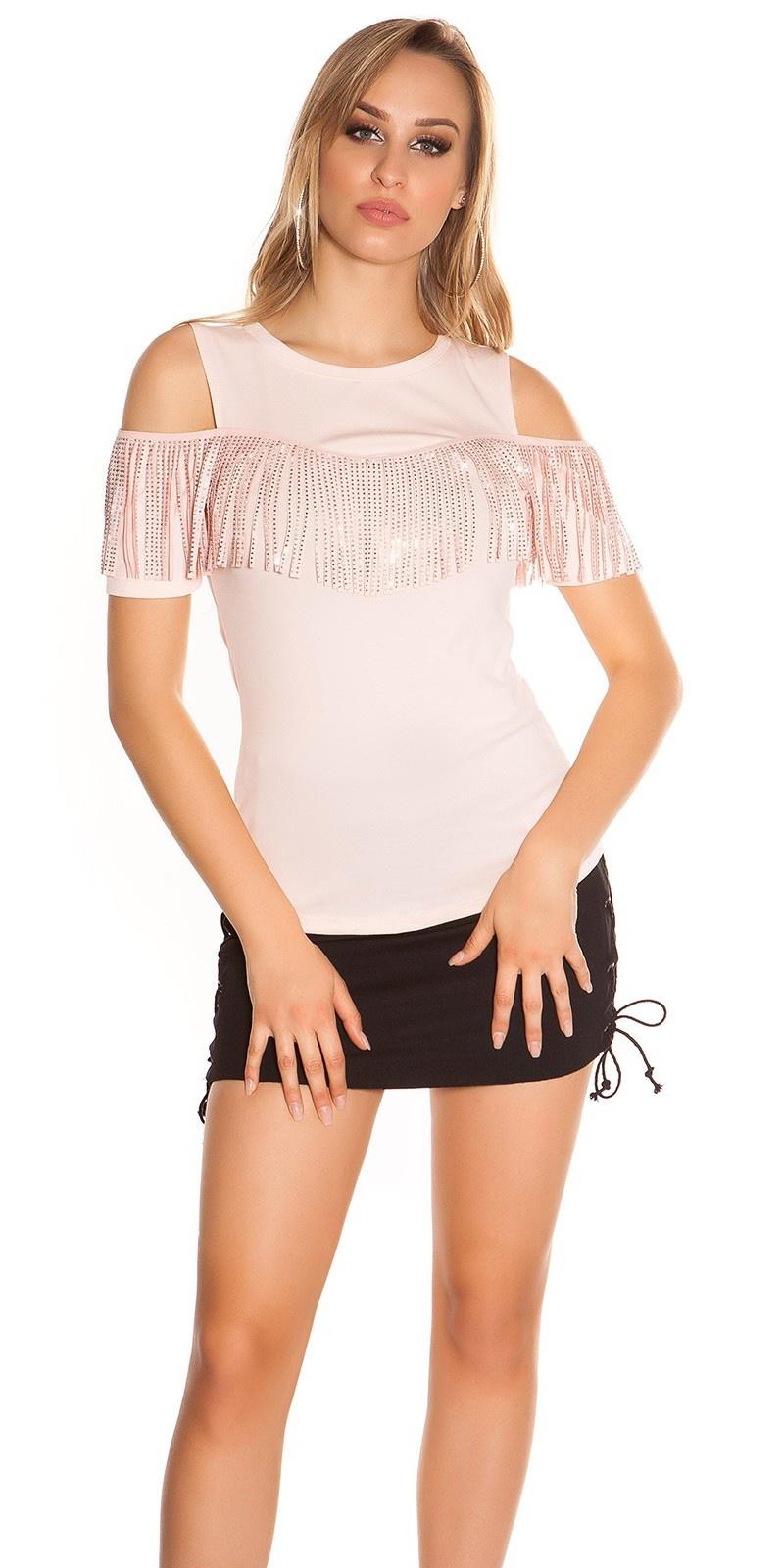 Trendy blote schouder shirt met franjes & studs roze