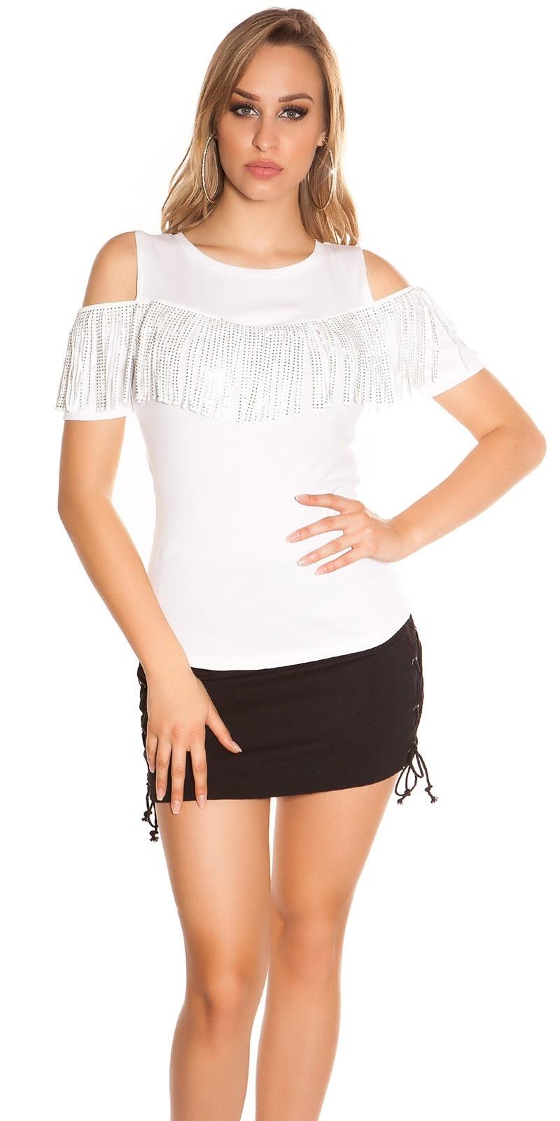 Trendy blote schouder shirt met franjes & studs wit