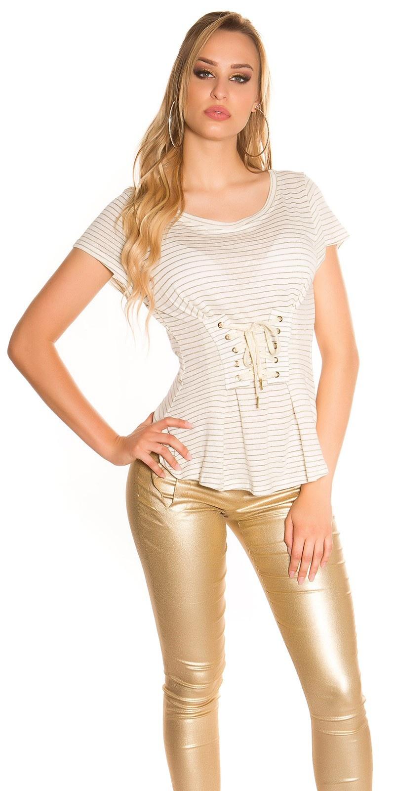 Sexy t-shirt gestreept met veter grijs