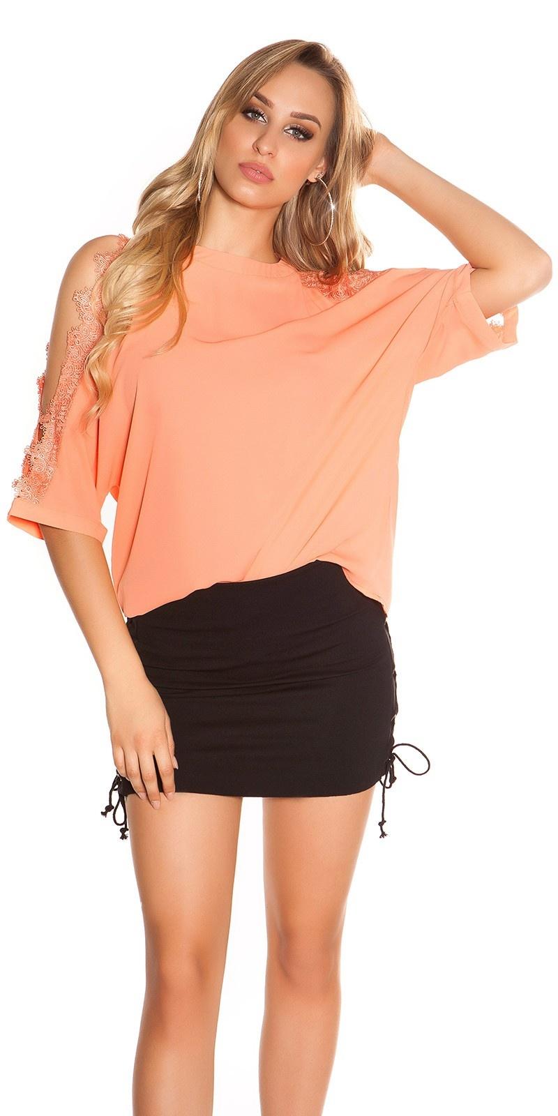 Sexy blote schouder shirt met kant abrikoos-kleurig