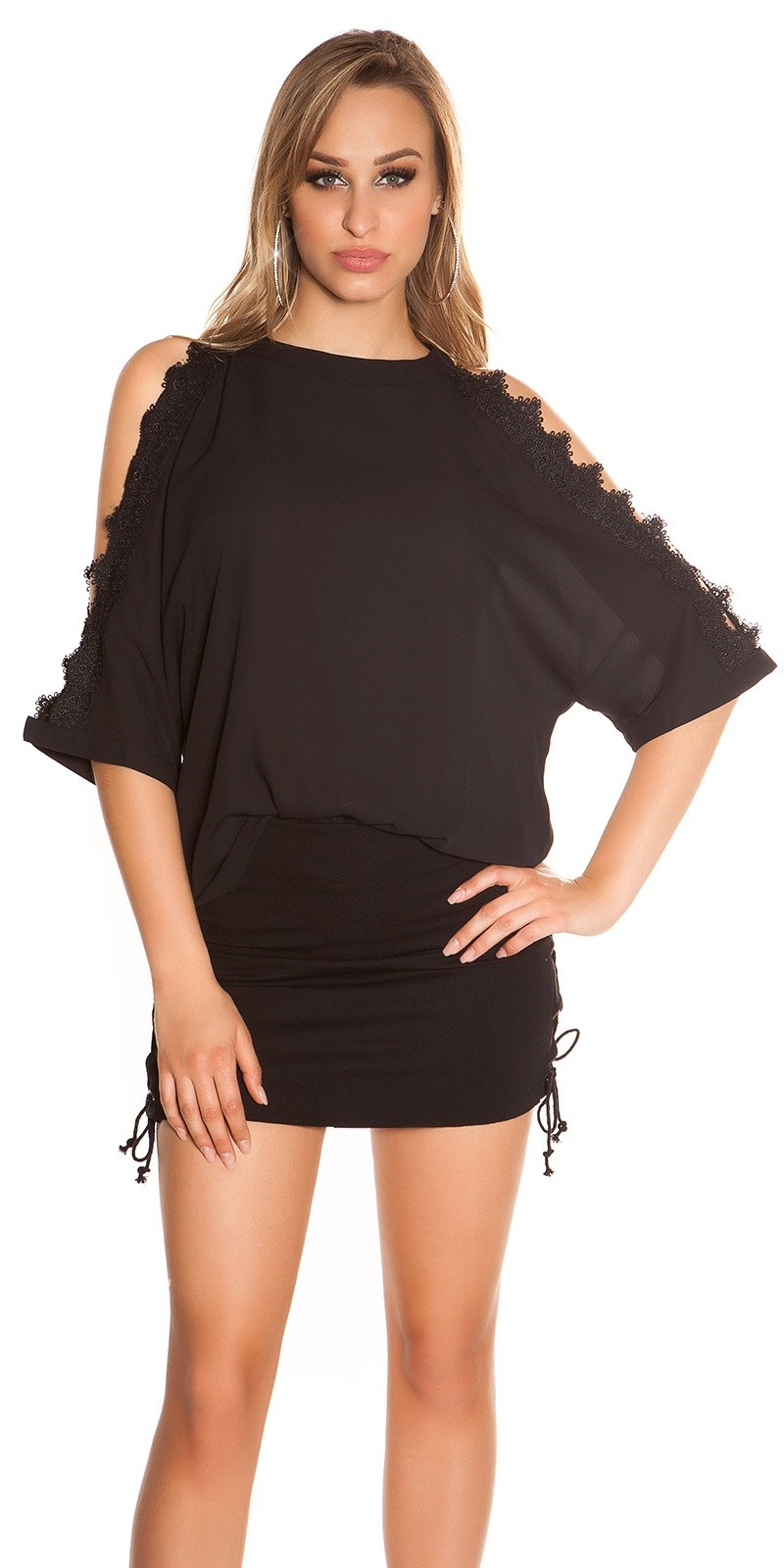 Sexy blote schouder shirt met kant zwart
