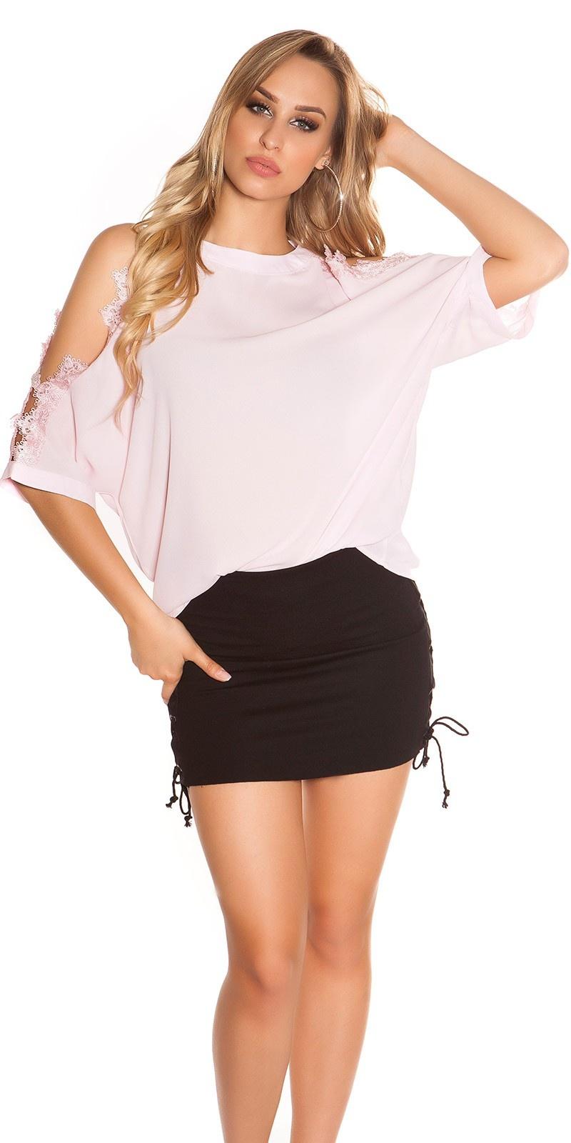 Sexy blote schouder shirt met kant roze