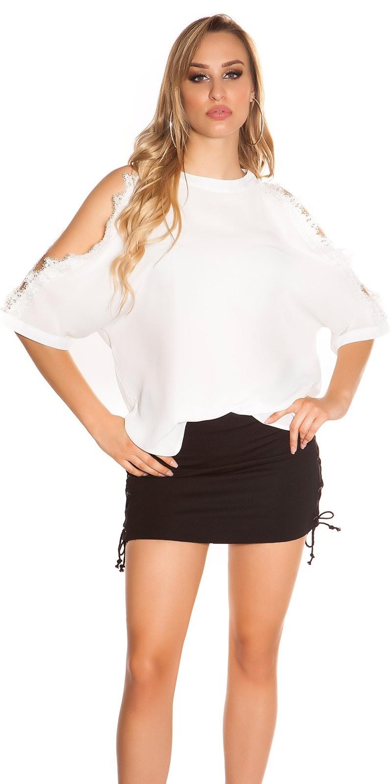 Sexy blote schouder shirt met kant wit