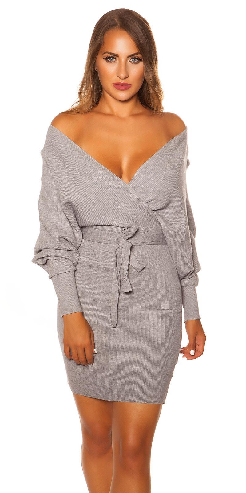 Sexy longsleeve knit dress wrap look Grey