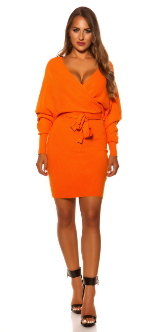 Sexy longsleeve knit dress wrap look Orange
