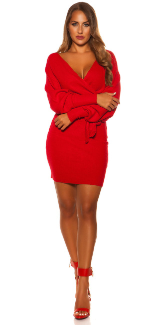 Sexy longsleeve knit dress wrap look Red