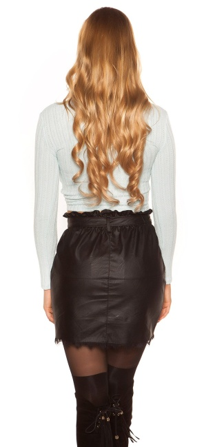 Sexy long sleeve crop shirt with knot look Babyblue