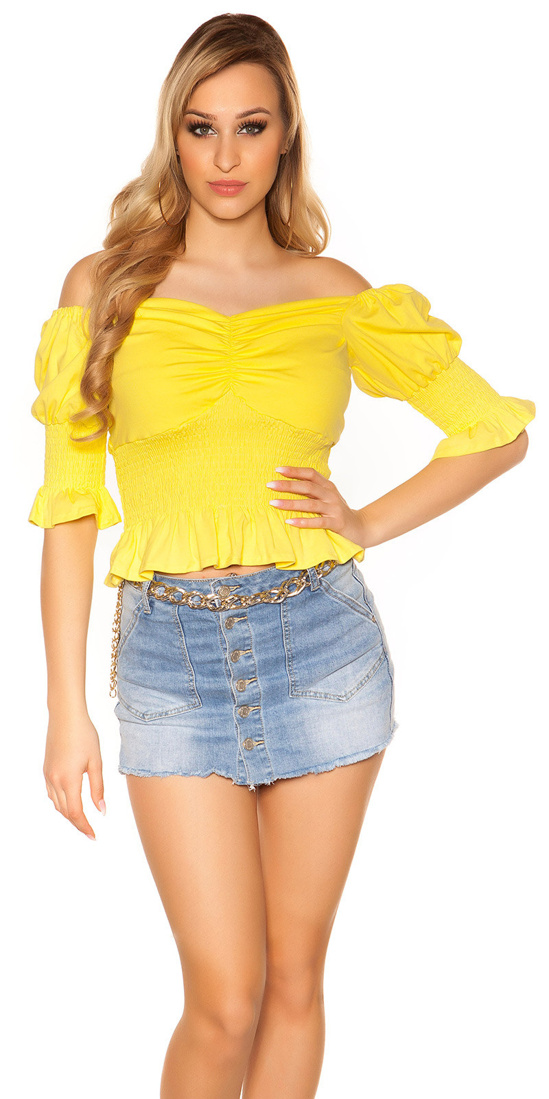 Trendy off shoulder shirt geel
