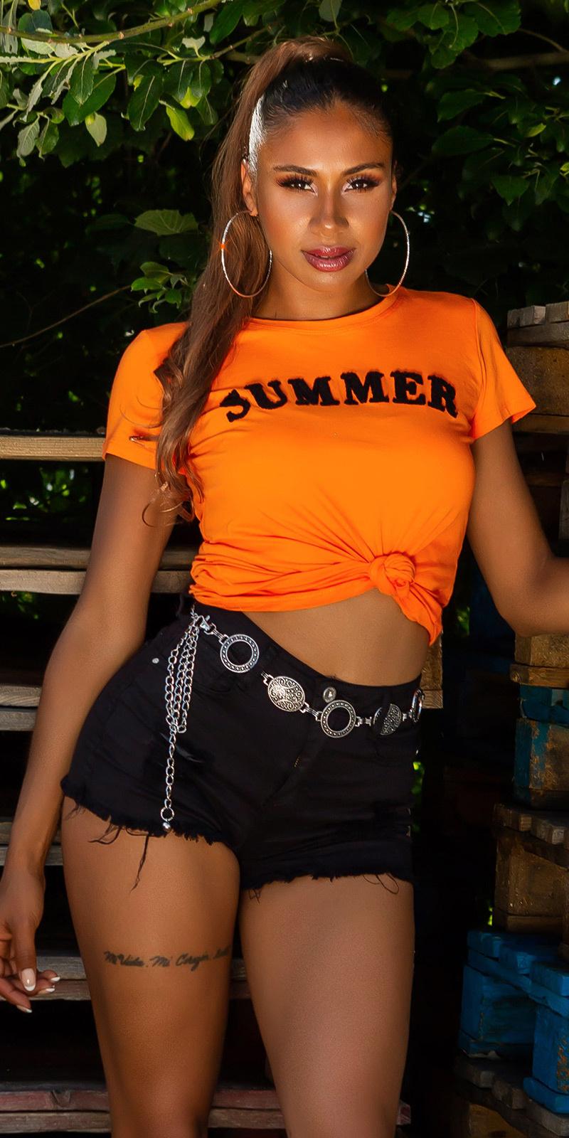 Trendy zomer shirt oranje
