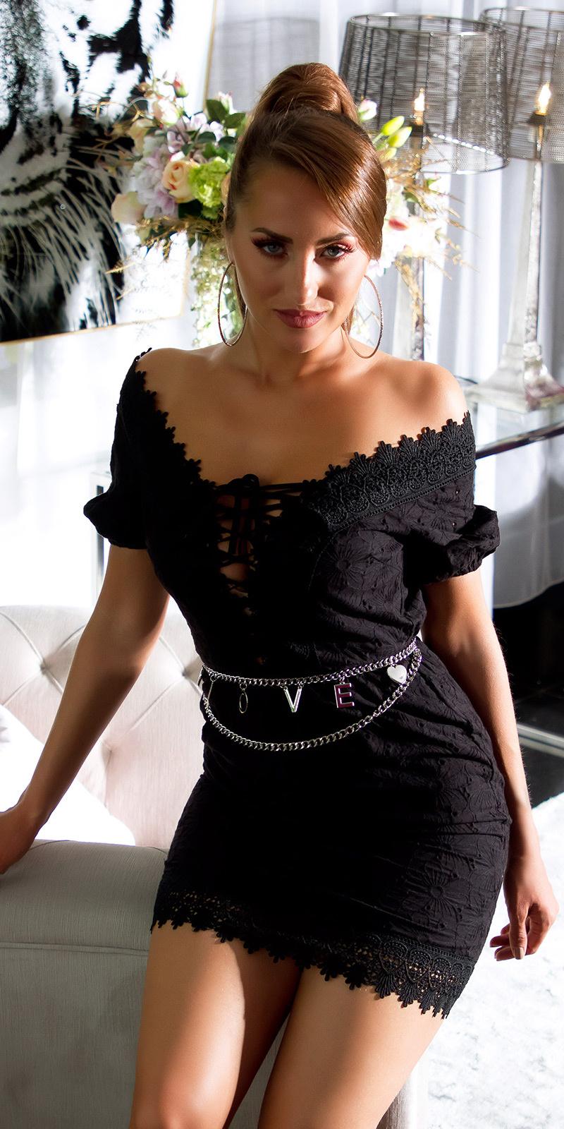 Sexy kant mini jurkje met frontveter zwart