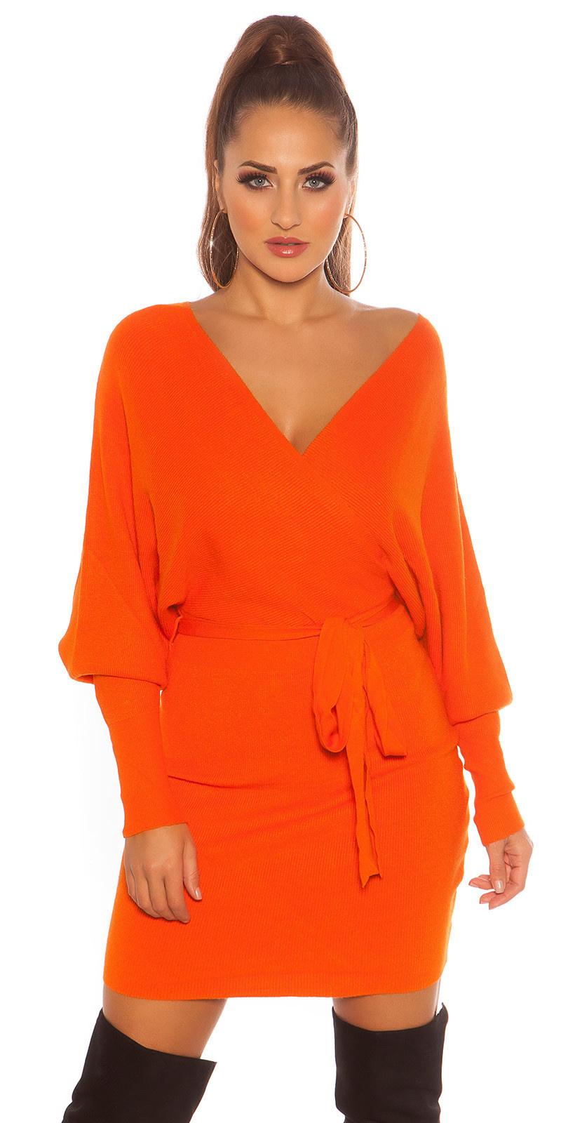 Sexy langmouw gebreide jurk wikkel look oranje