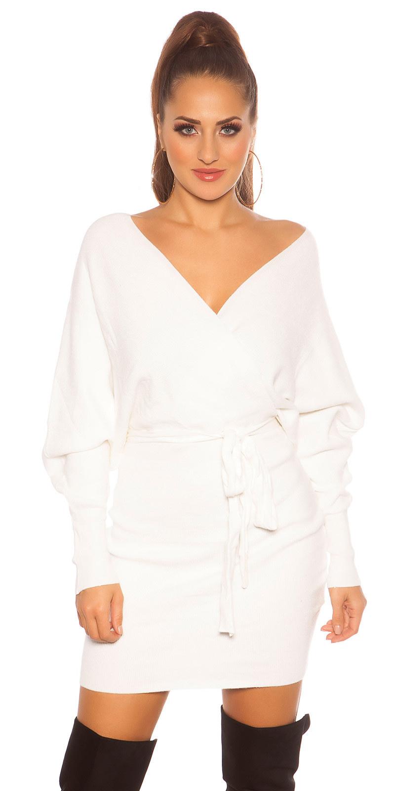Sexy langmouw gebreide jurk wikkel look wit